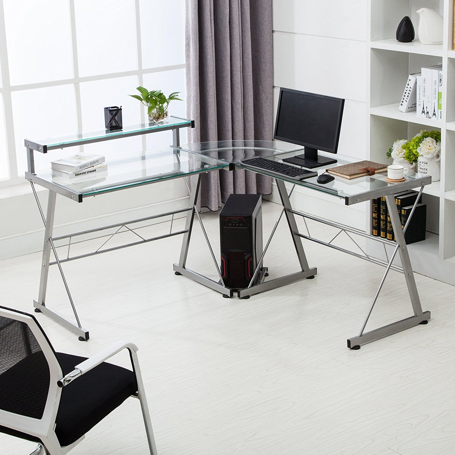 Furniture Home Office Desks Corner Glass