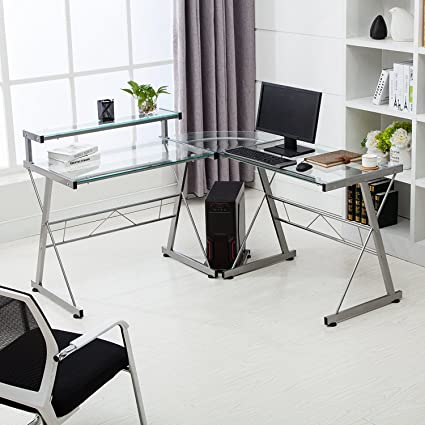 Amazon Com Mecor L Shape Corner Computer Desk Glass Laptop Table Workstation Home Office Furnitureclear Office Products