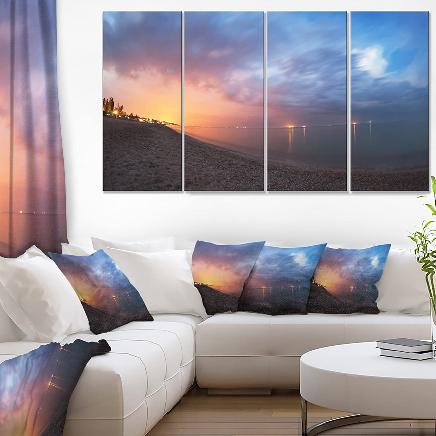 Designart Summer Night With Blue Sky Skyline Photography Canvas Print 48x28 4 Piece 28 H X 48 W X 1 D 4p Posters Prints