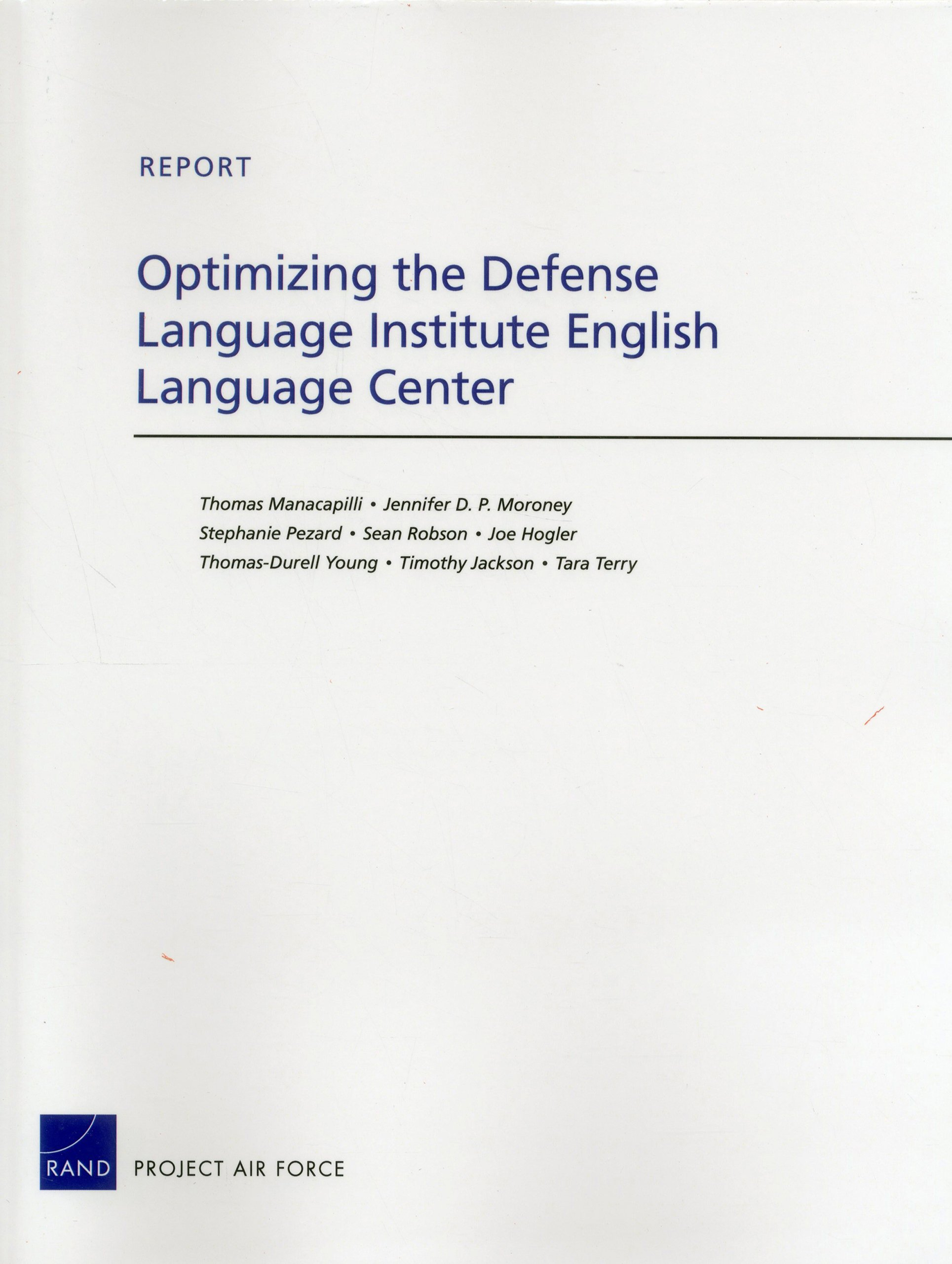 Optimizing the Defense Language Institute English Language Center