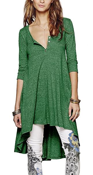 Urban GoCo Mujeres Talla Grande Camiseta con 3/4 Mangas Largas Casual Blusa Del Dobladillo