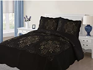 Empire Home Diana 3PC Quilted/Embroidered Oversized Medallion Bedspread (Black, Queen)