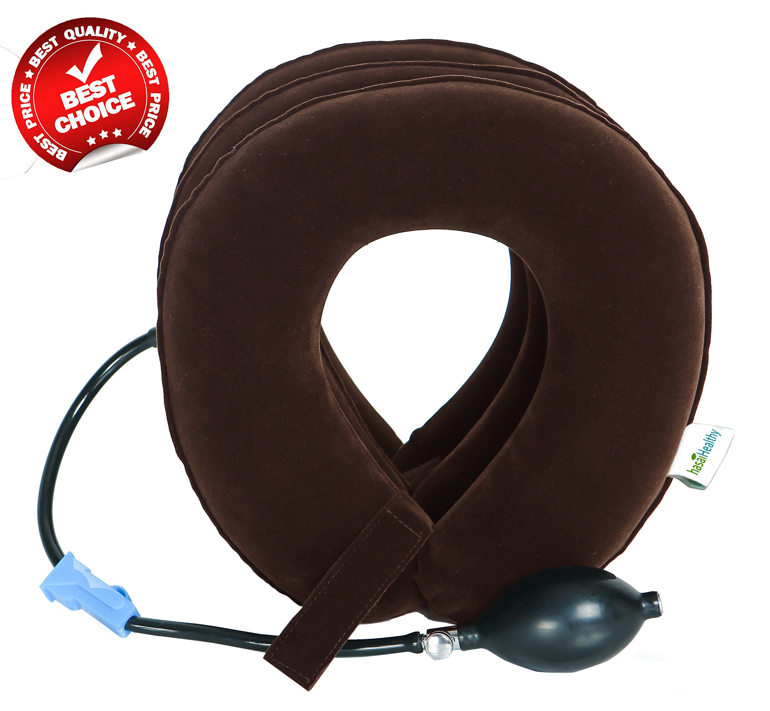 Hasai healthy - Cervical Neck Traction Device FDA Registered - Easy to Use for Chronic Neck and Shoulder Pain Relief, Inflatable Cervical Brace for Home and Travel (Brown)