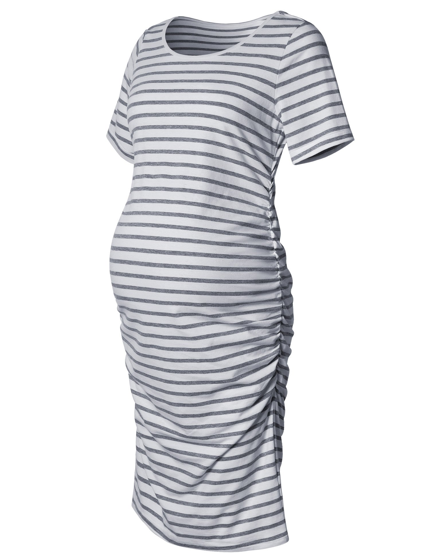 Maternity Dress,Bodycon Maternity Clothes for Women,Casual Short Sleeve Ruched Sides,Grey and White Stripe XL