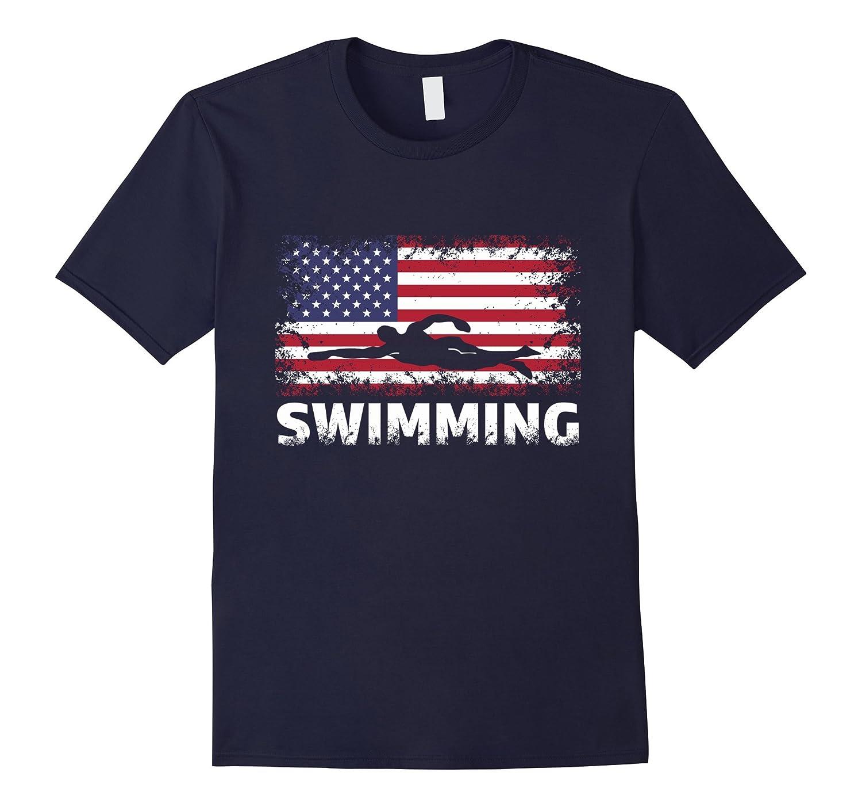 American Flag Swimming Shirt - Swimming T Shirt-FL