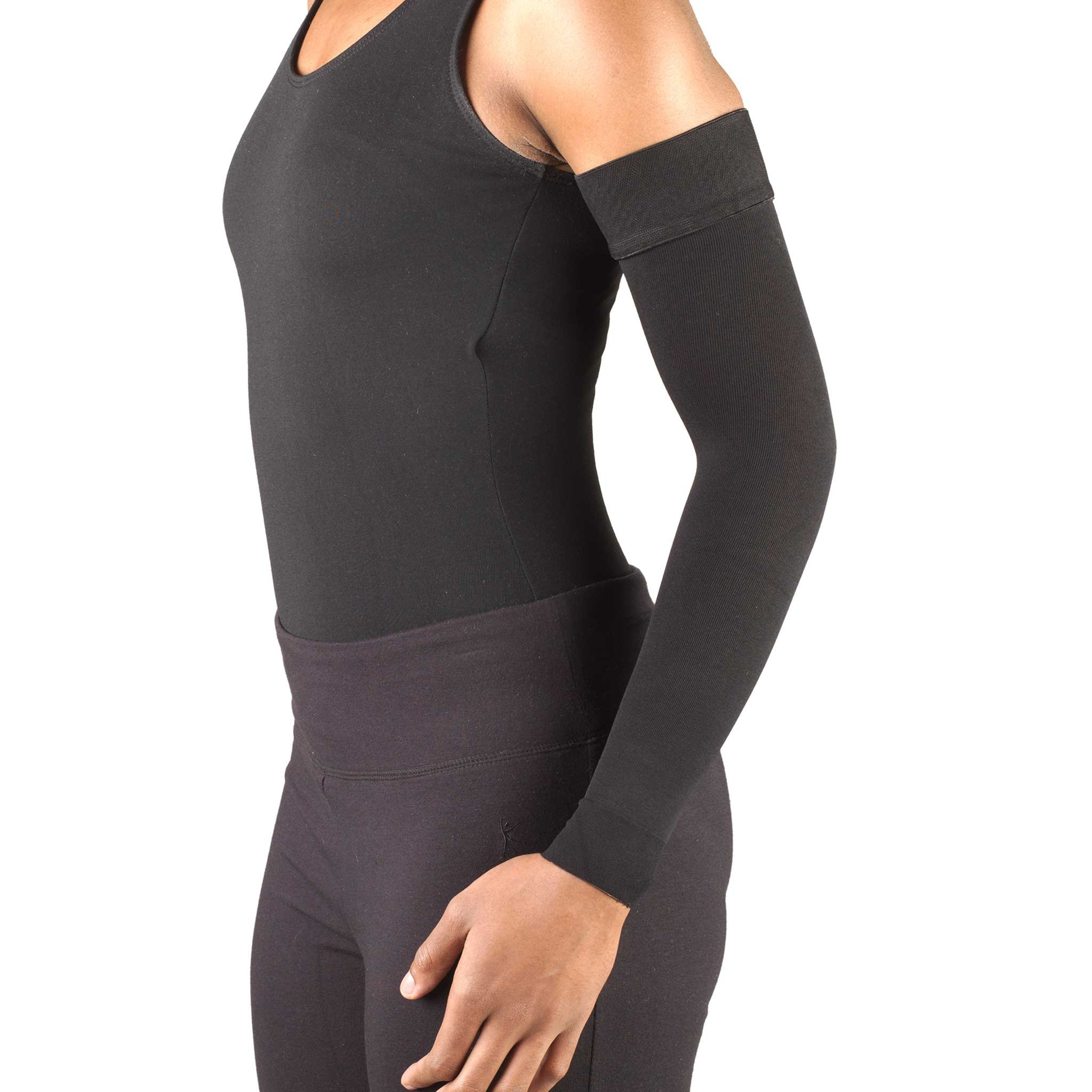 Truform Lymphedema Arm Sleeve, 20-30 mmHg Compression, Women's Post Surgical Garment, Mastectomy Swelling Management, Soft Microfiber, Medical Grade Support, Silicone Dot Top, Black, Small