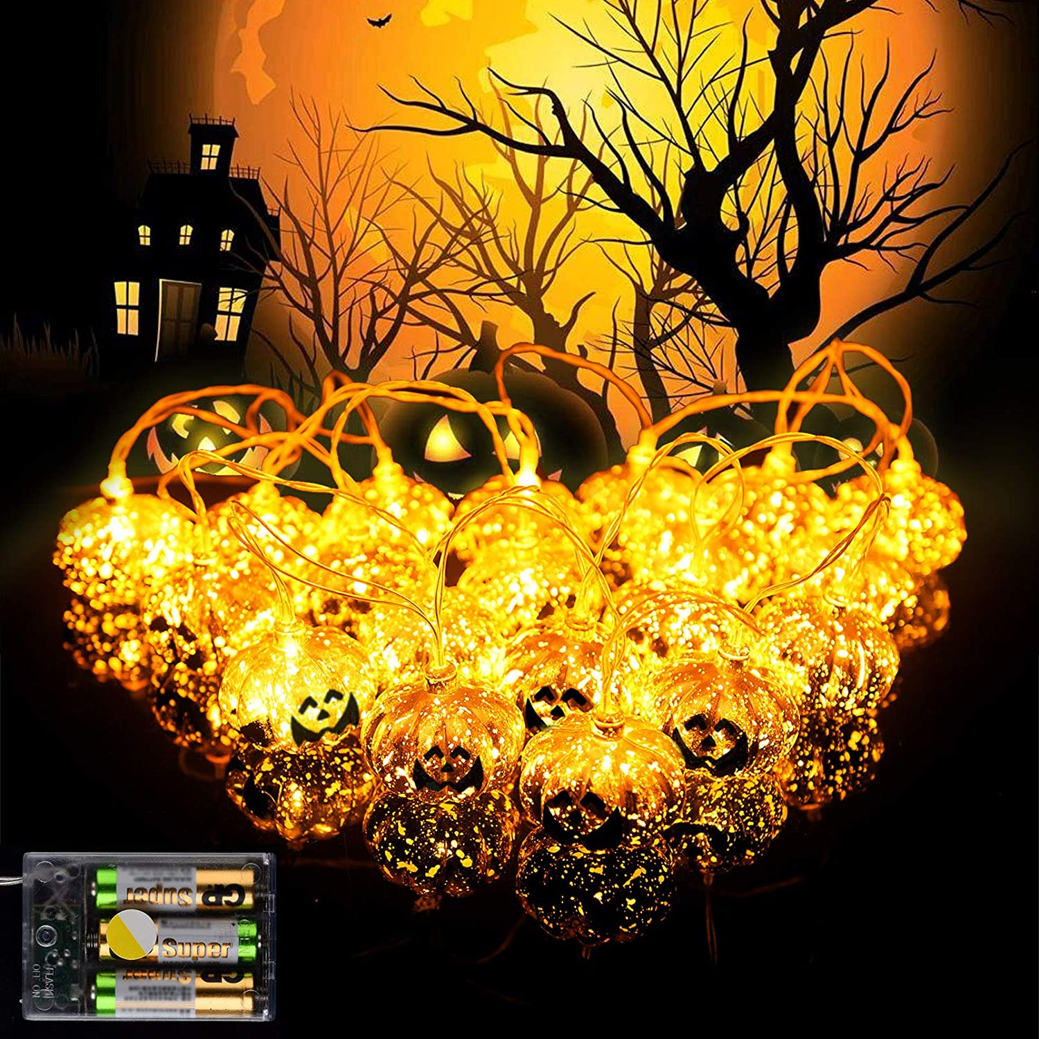 RUN Halloween String Lights LED Pumpkin Lights Weather Resistant 2 Modes Steady/Flickering Lights for Holiday Indoor/Outdoor Decor