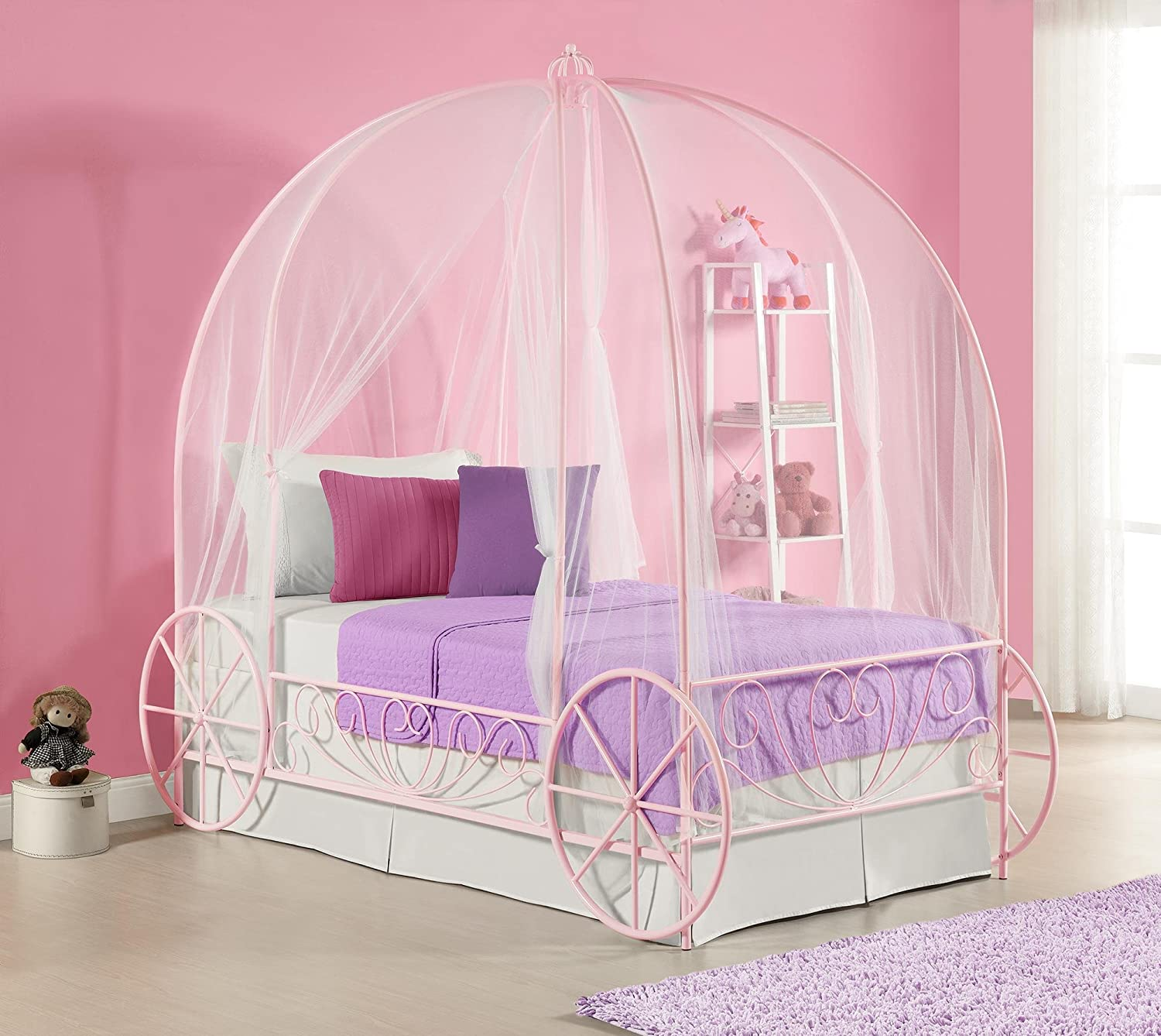 Amazon com  DHP Metal Carriage Bed  Fairy Tale Bed Frame  Shabby Chic  Style  Twin  Pink  Kitchen   Dining. Amazon com  DHP Metal Carriage Bed  Fairy Tale Bed Frame  Shabby