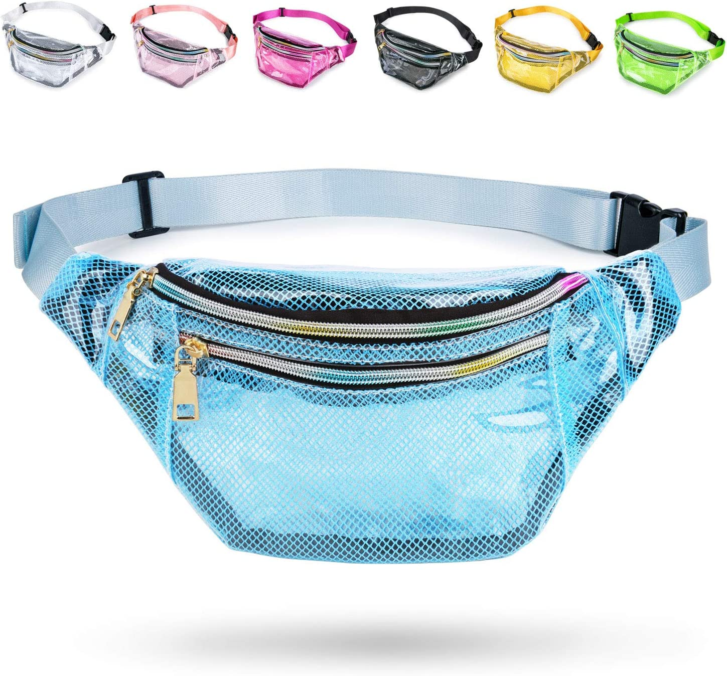 Men Weewooday Grid Clear Fanny Pack Clear Mesh Fanny Pack Waterproof Waist Fanny Pack with 2 Pouches and Adjustable Belt for Women Beach White, Green Travel Concert Bag