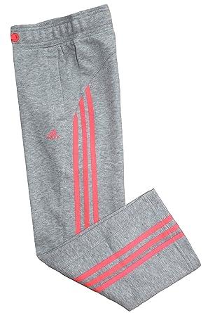 adidas - Pantalón Deportivo - para niña Gris Grey/Red Zest Talla ...