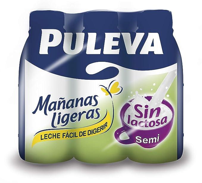 Puleva Mañanas Ligeras Leche, sin Lactosa Semidesnatada - 6 x 1 L - Total: