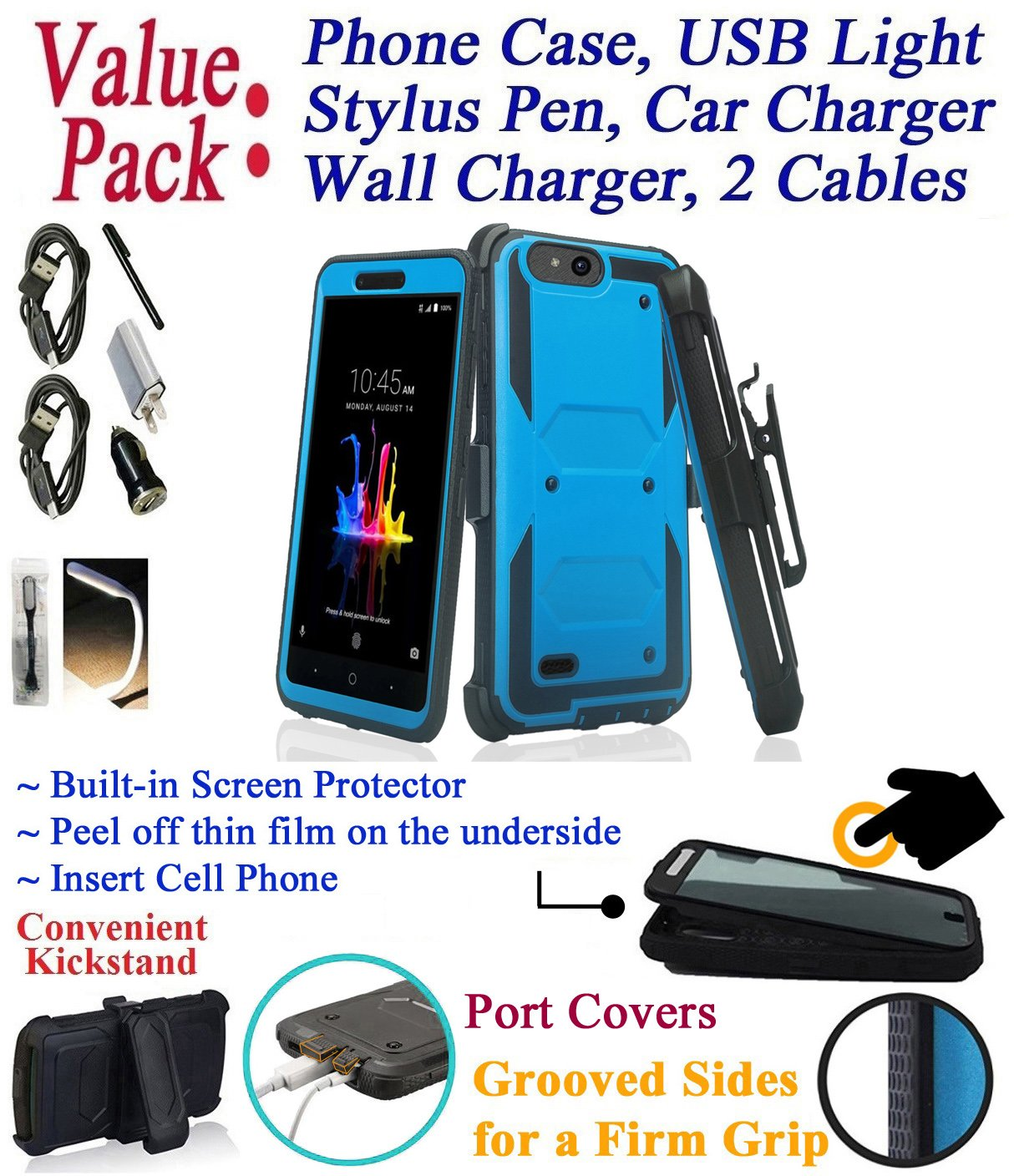 Value Pack Cables + for 5'' ZTE TEMPO X Avid 4 BLADE VANTAGE case Screen Protector Phone Case 360° Cover Clip Holster Kick Stand Armor Shock Bumper (Blue)