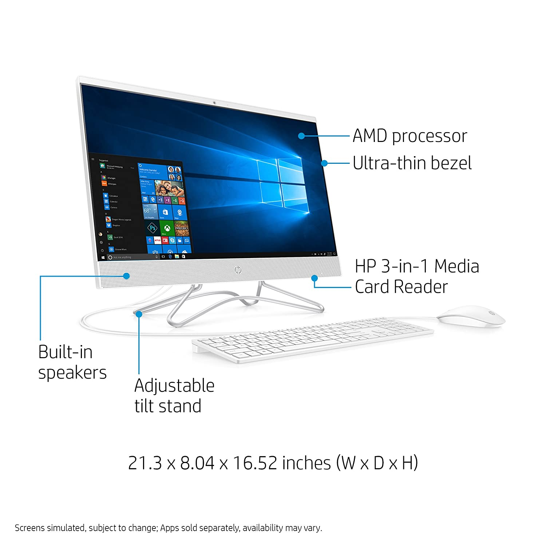 Amazon.com : HP 24-inch All-in-One Computer, AMD A6-9225, 4GB RAM, 1TB Hard  Drive, Windows 10 (24-f0030, White) : Computers & Accessories