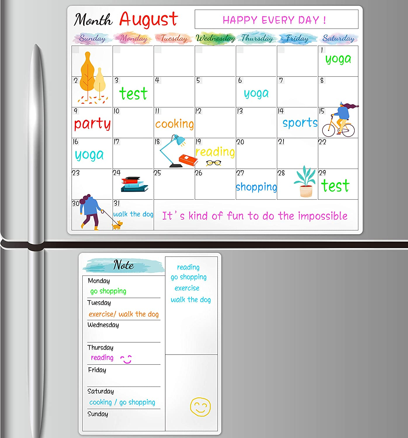 "Dry Erase Fridge Magnetic Calendar - White Board Magnetic Calendar for Refrigerator Wall Home Kitchen Decor, 15""x 11.5"", Bonus Grocery List Magnet Pad for Fridge"