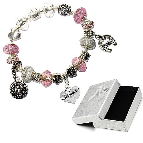 1f9bf5bb6 Amazon.com: Charm Buddy Granddaughter Pink Silver Crystal Good Luck ...