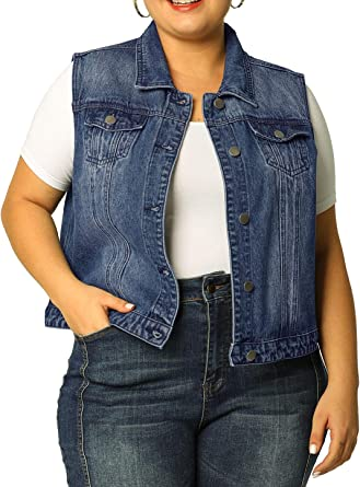 latest running shoes quality Amazon.com: uxcell Women's Plus Size Single Breasted Denim Vest ...