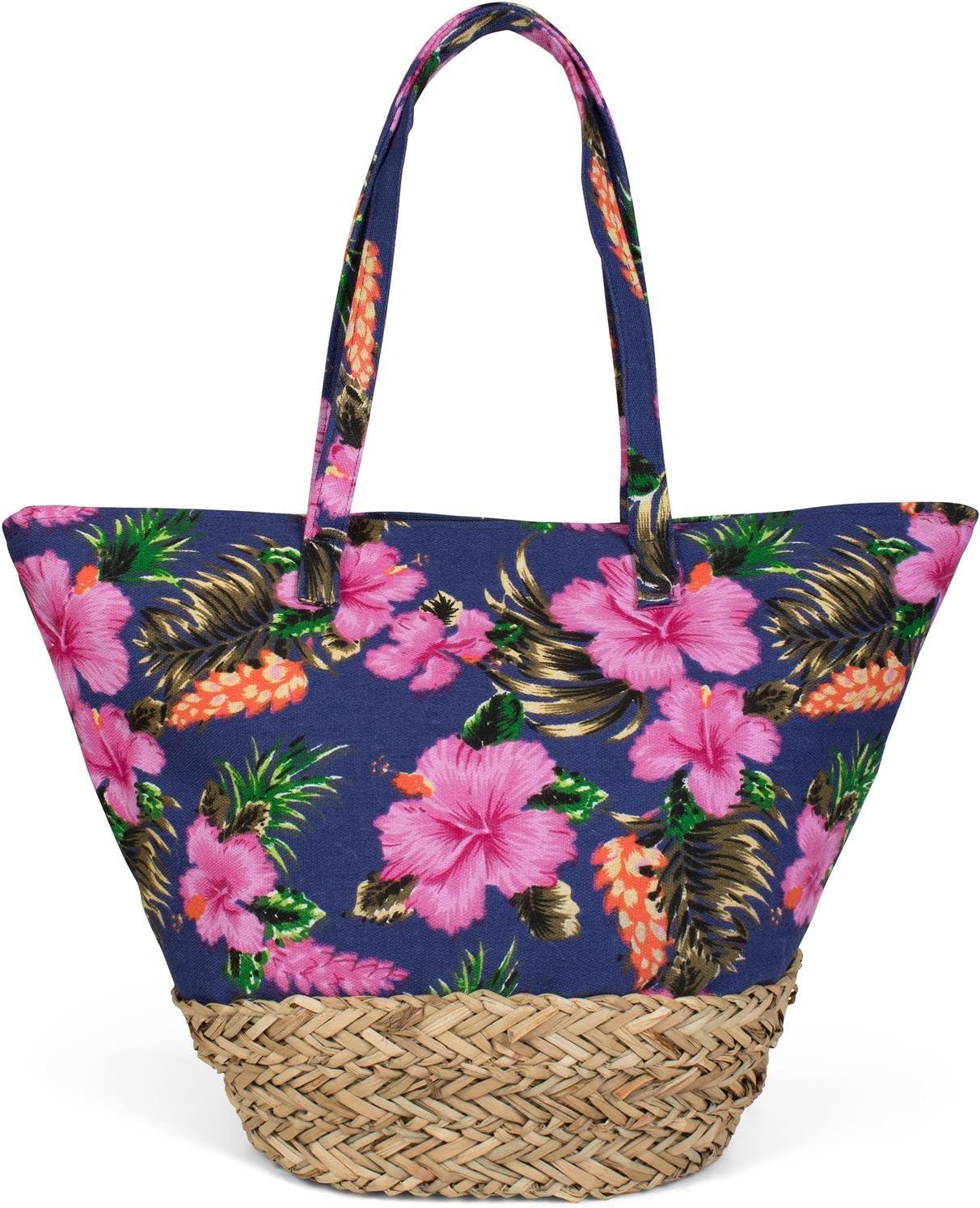 styleBREAKER Bolso para la Playa con un Colorido Estampado de hibiscos, Rafia en la Base y Cremallera, Bolso de Hombro, Bolso de Tipo «Shopper», señora 02012233, Color:Azul Oscuro