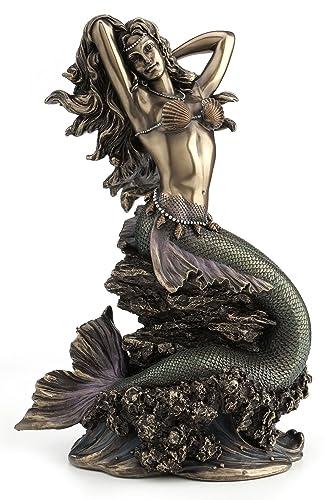 Large Beautiful Mermaid Sitting on Rock Statue Sculpture Figurine