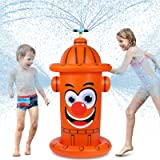 iBaseToy Giant Inflatable Sprinkler for Kids - Fire Hydrant Sprinkler with 360°Auto Rotating Sprinkler Nozzle - Yard Lawn Wat