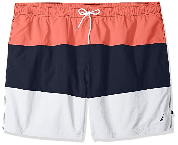 bd0d833a0bdc7b Nautica Men's Big and Tall Quick Dry Color Block Swim Trunk (t71007), Spiced