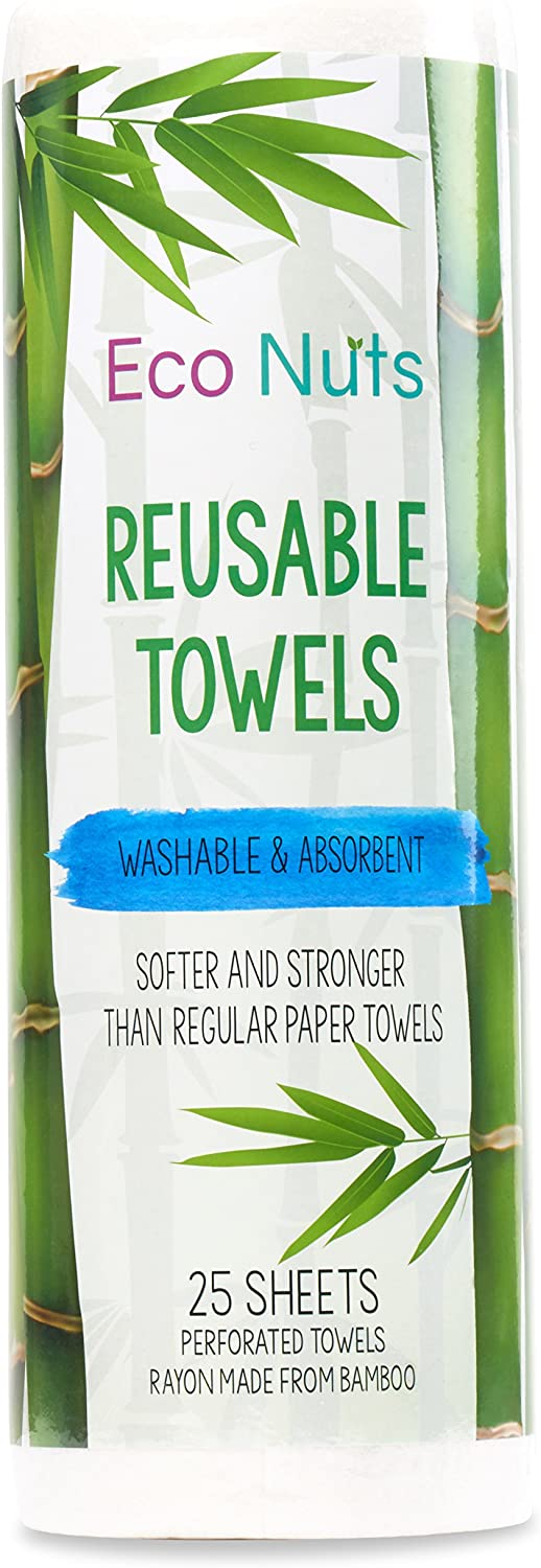 Eco Nuts Reusable Bamboo Towels, Machine Washable, 25 Sheets