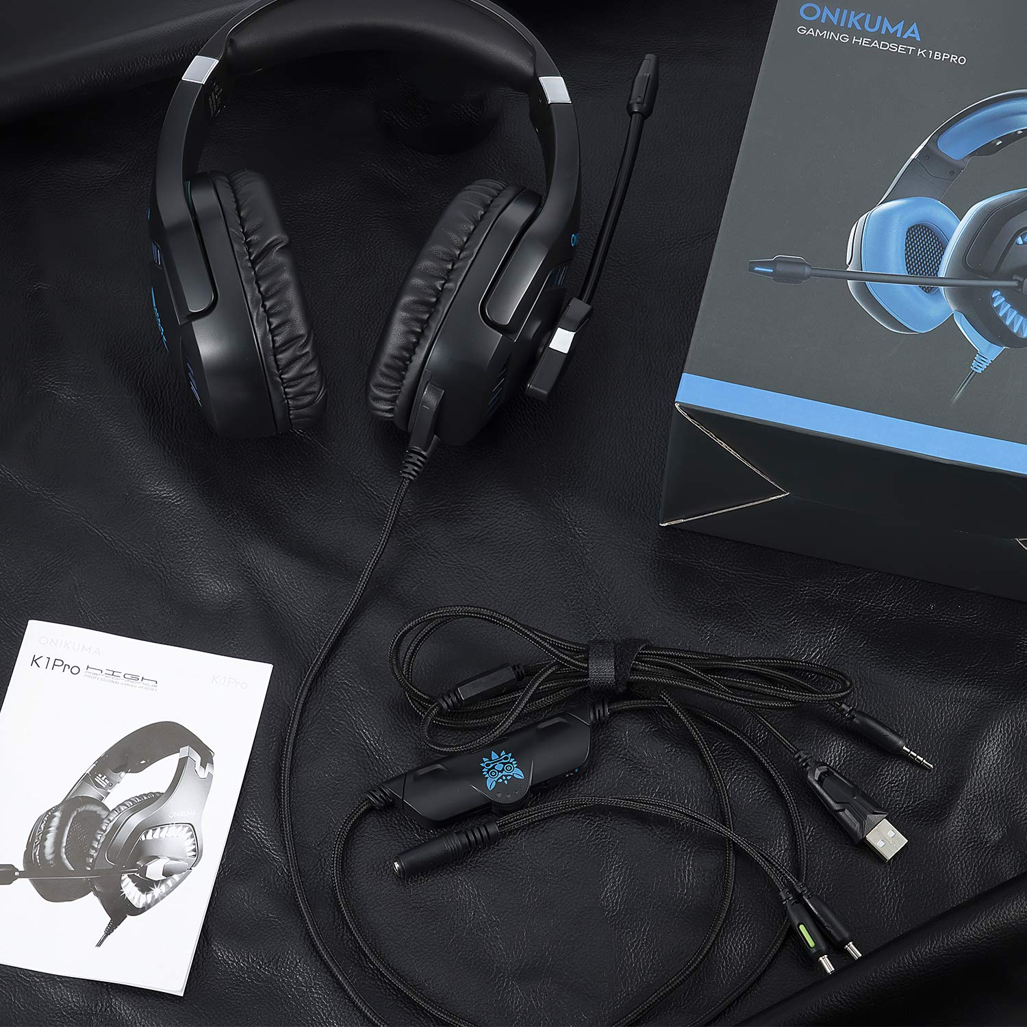 Gaming Headset, E-BLUE EHS956 Over Ear Headphones with Mic and Volume Control Stereo for PS4 and Xbox One( No adapter included)