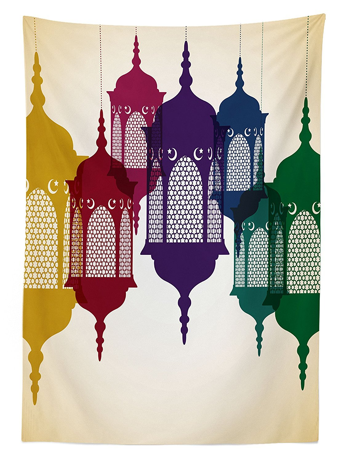 Purple Red Yellow Green 60 W X 90 Inches Antique Style Colorful Arabian Lantern Hang on Sky Traditional Design Dining Room Kitchen Rectangular Table Cover Lantern Tablecloth by Ambesonne