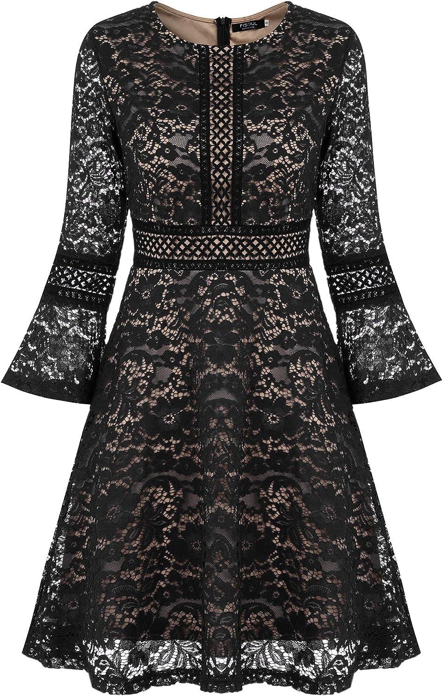 TALLA L. FISOUL Vintage Encaje Floral Coctel Vestido Corta para Mujer Negro