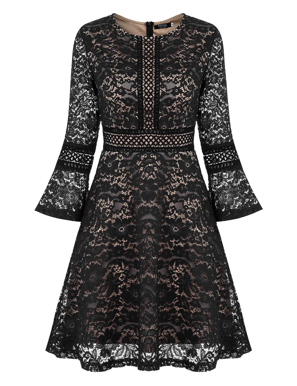 TALLA S. FISOUL Vintage Encaje Floral Coctel Vestido Corta para Mujer Negro
