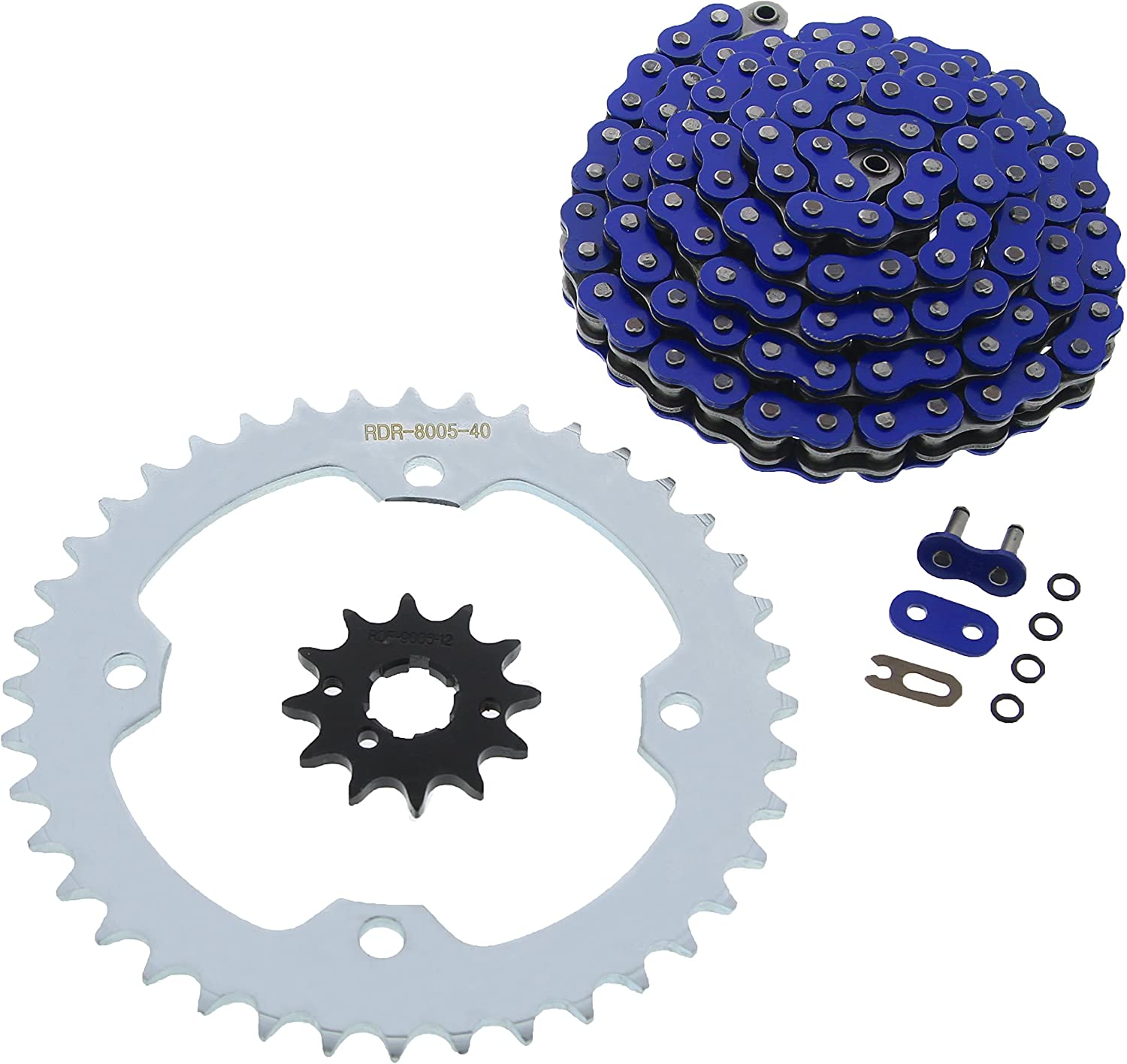 2001-2004 Yamaha YFM 350 Warrior Blue O-Ring Chain /& Silver Sprocket 14//40 98L