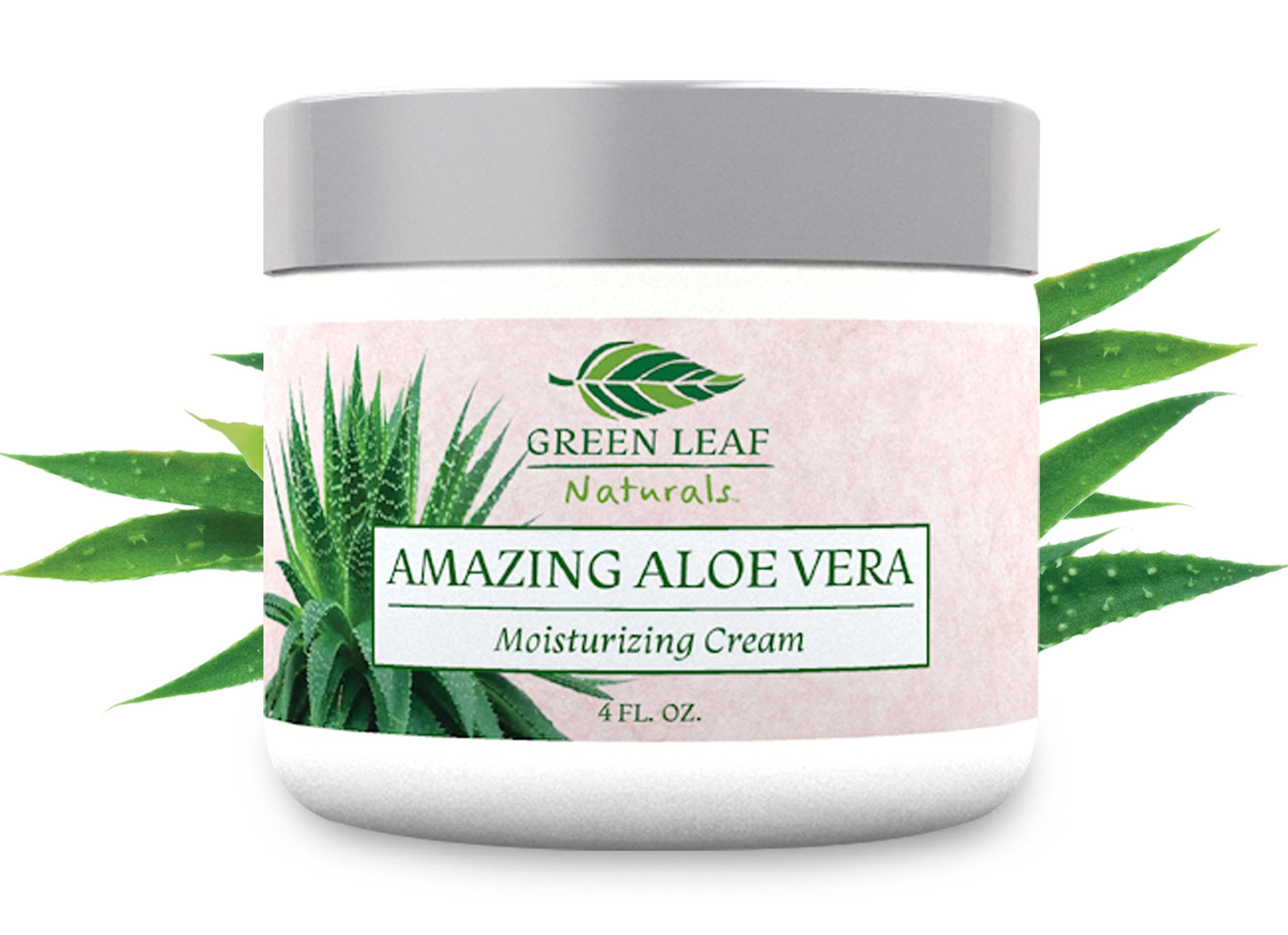Amazing Aloe Vera Moisturizing Cream for Women - All Purpose Facial Skincare for All Skin Types - Natural and Organic Ingredients - Your Anti-Aging Face Moisturizer from Green Leaf Naturals (4 oz)