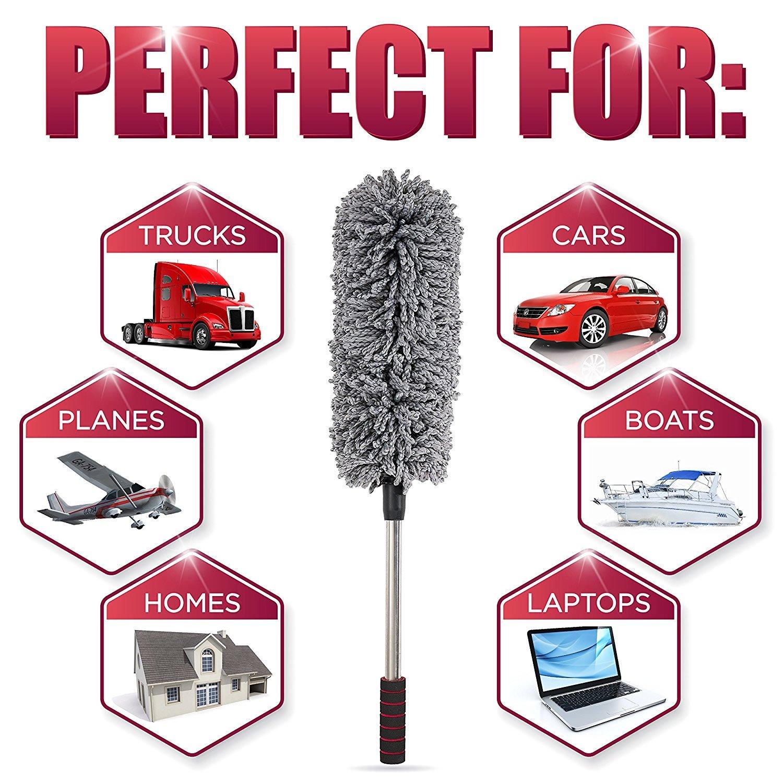 ne peluche pas Parfait pour /éliminer la poussi/ère chez vous ou dans votre voiture XMSSIT Plumeau multi-usages en microfibre antistatique avec manche extensible souple