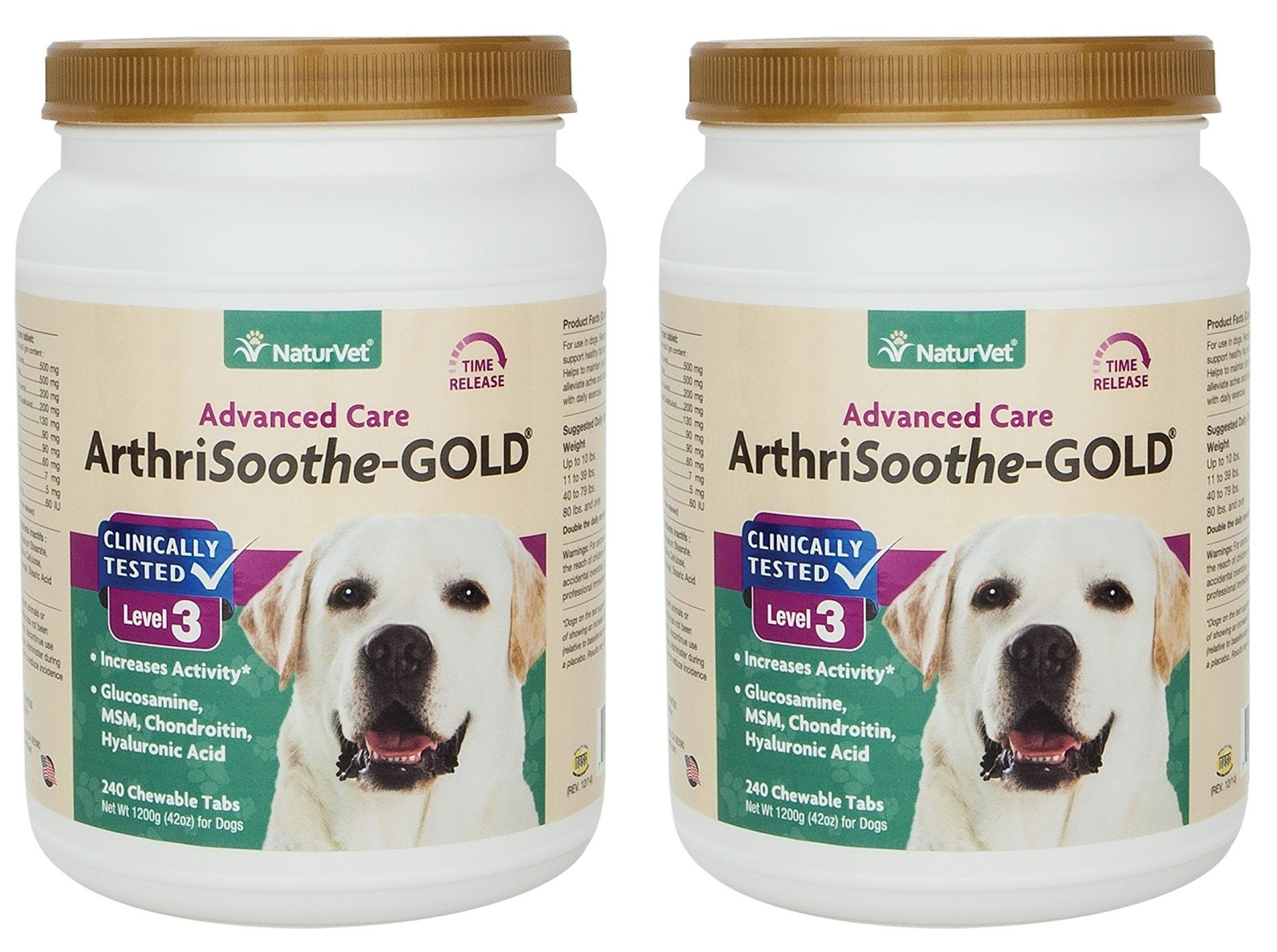 480-Count NaturVet ArthriSoothe-GOLD Level 3 Advanced Joint Care Chewable Tablets for Dogs and Cats (2 Jars with 240 Chews Each)