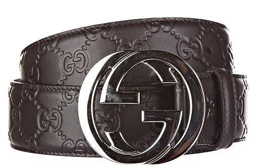 Gucci cintura uomo vera pelle nuova originale signature marrone  Amazon.it   Scarpe e borse c7eb3ad1a34a