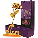 Skylofts 22K Rose with Love Stand , Gift Box and Carry Bag - Best Valentine's Day Gift, Birthday Gifts Gold Dipped (With Love Stand)