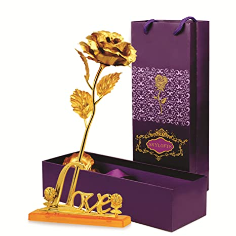 Buy Skylofts 24k Golden Rose With Love Stand Gift Box And Carry Bag