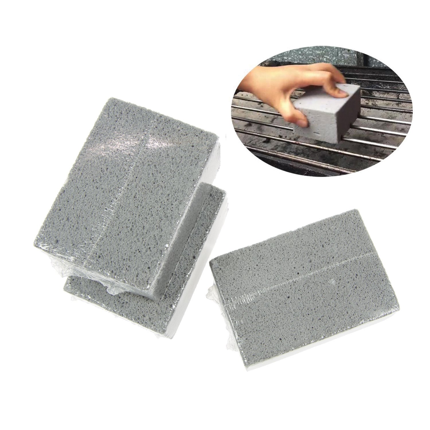 Aottor Gray Pumice Grill Stone Brick Cleaner For Cleaning Grills Pans,Pack of 3