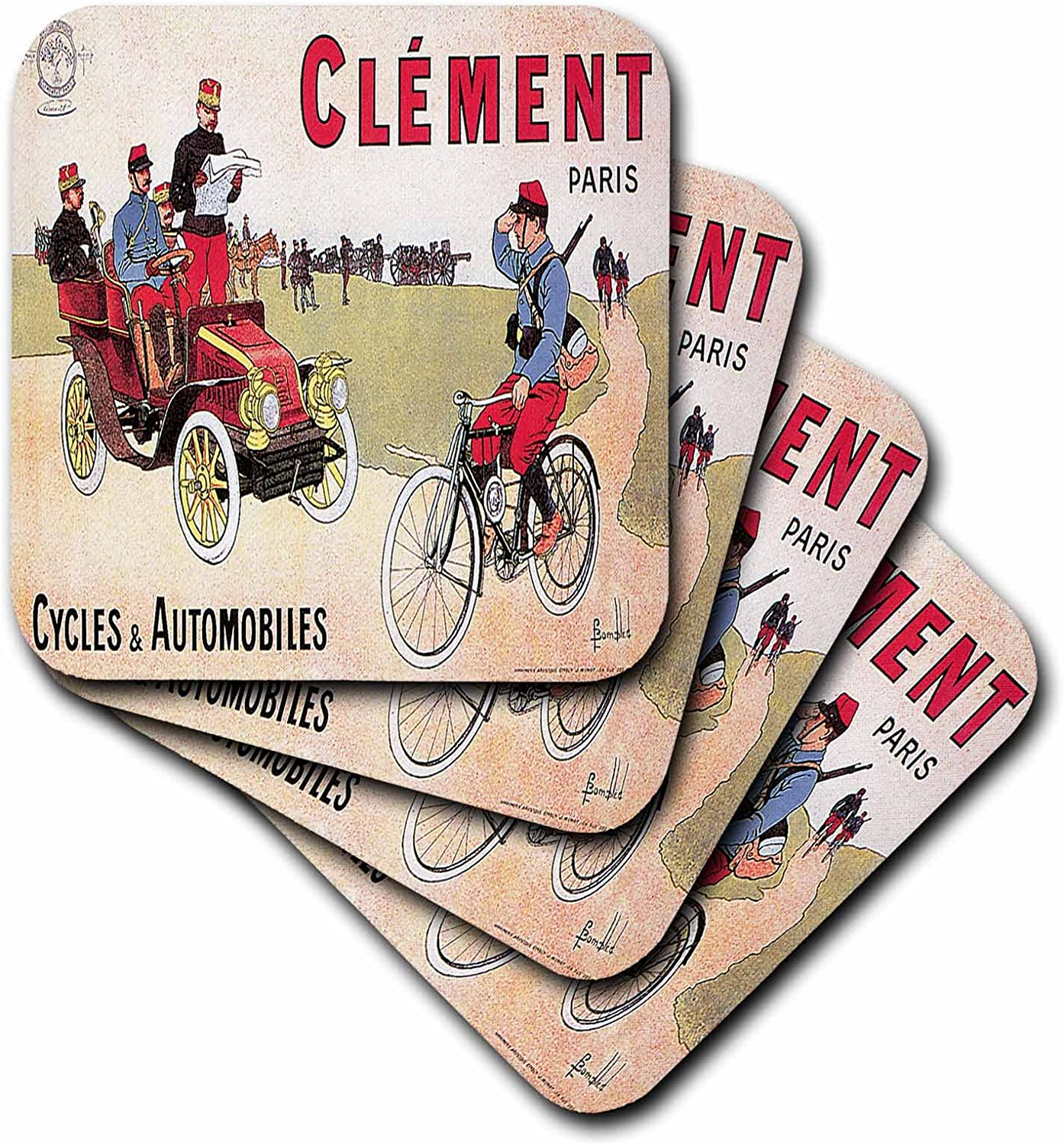 3drose Cst 149757 3 Vintage Clement Paris Cycles And Automobiles Advertising Poster Ceramic Tile Coasters Set Of 4 Amazon Co Uk Kitchen Home