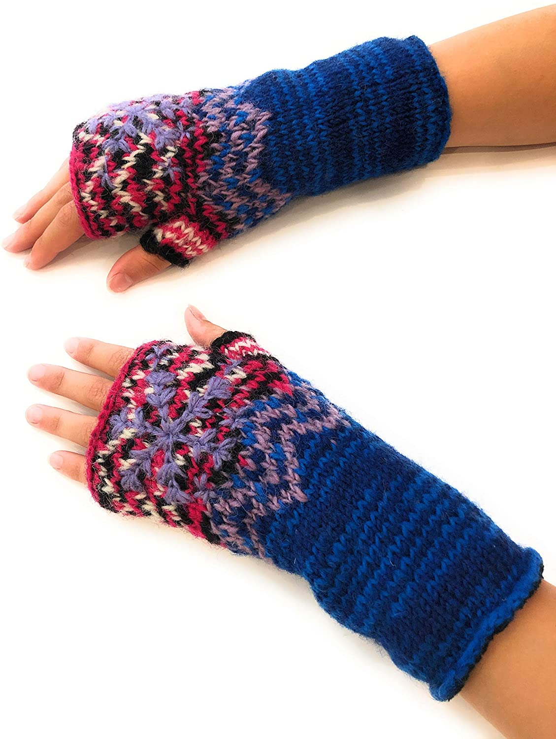 Snowflake Fair Isle Insulated Lined Cable Knit Arm Warmer Fingerless Gloves