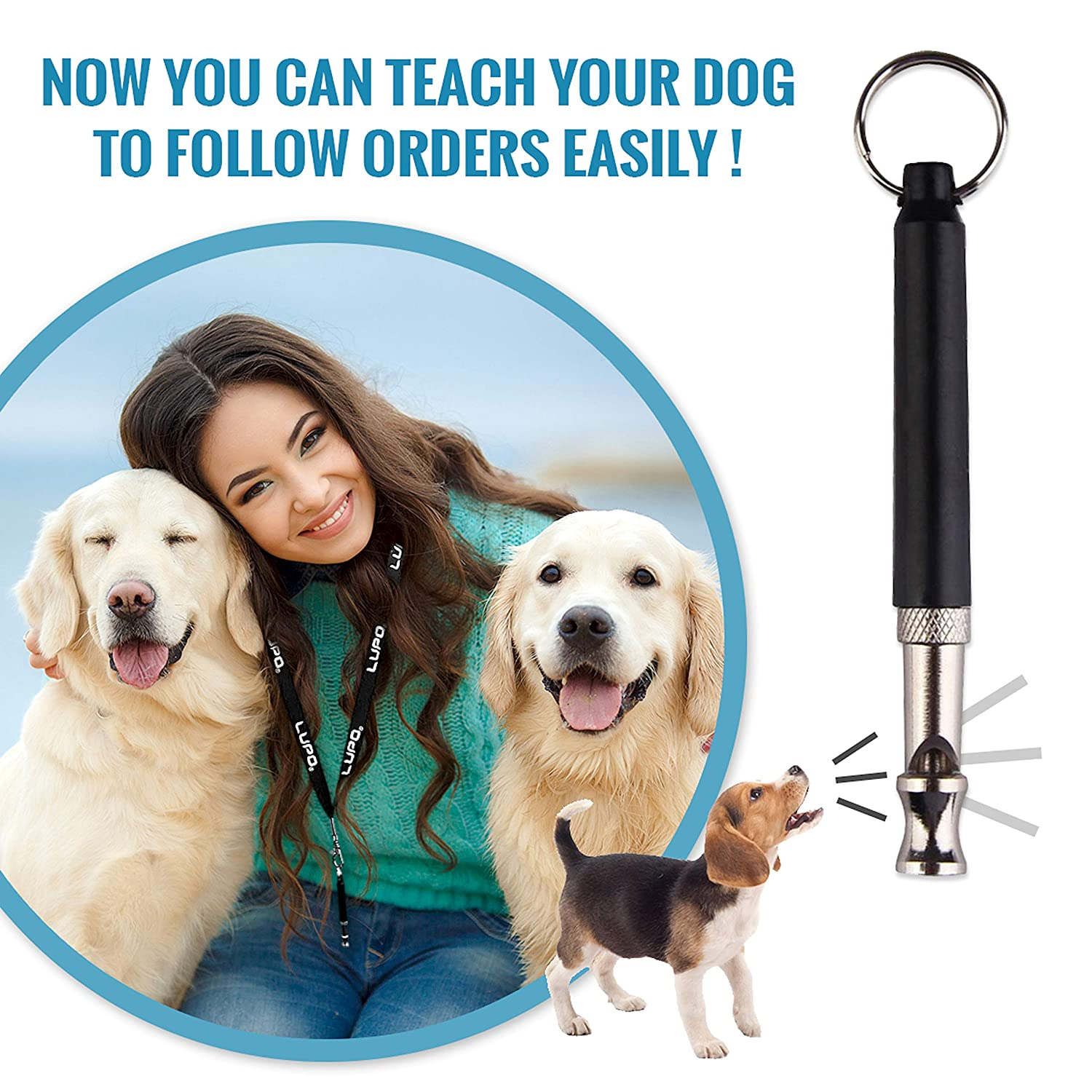 Amazon.com : Lupo Professional Ultrasonic Dog Training Whistle with Lanyard, Adjustable Frequencies & Free Training Ebook Guide : Lupo : Pet Supplies