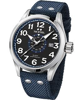 TW Steel VS31 Volante - Reloj Analógico de Pulsera con Movimiento de Cuarzo para Hombre, Caja Acero Inoxidable, Cristal Mineral, Correa Textil, Azul, 45 mm: Amazon.es: Relojes