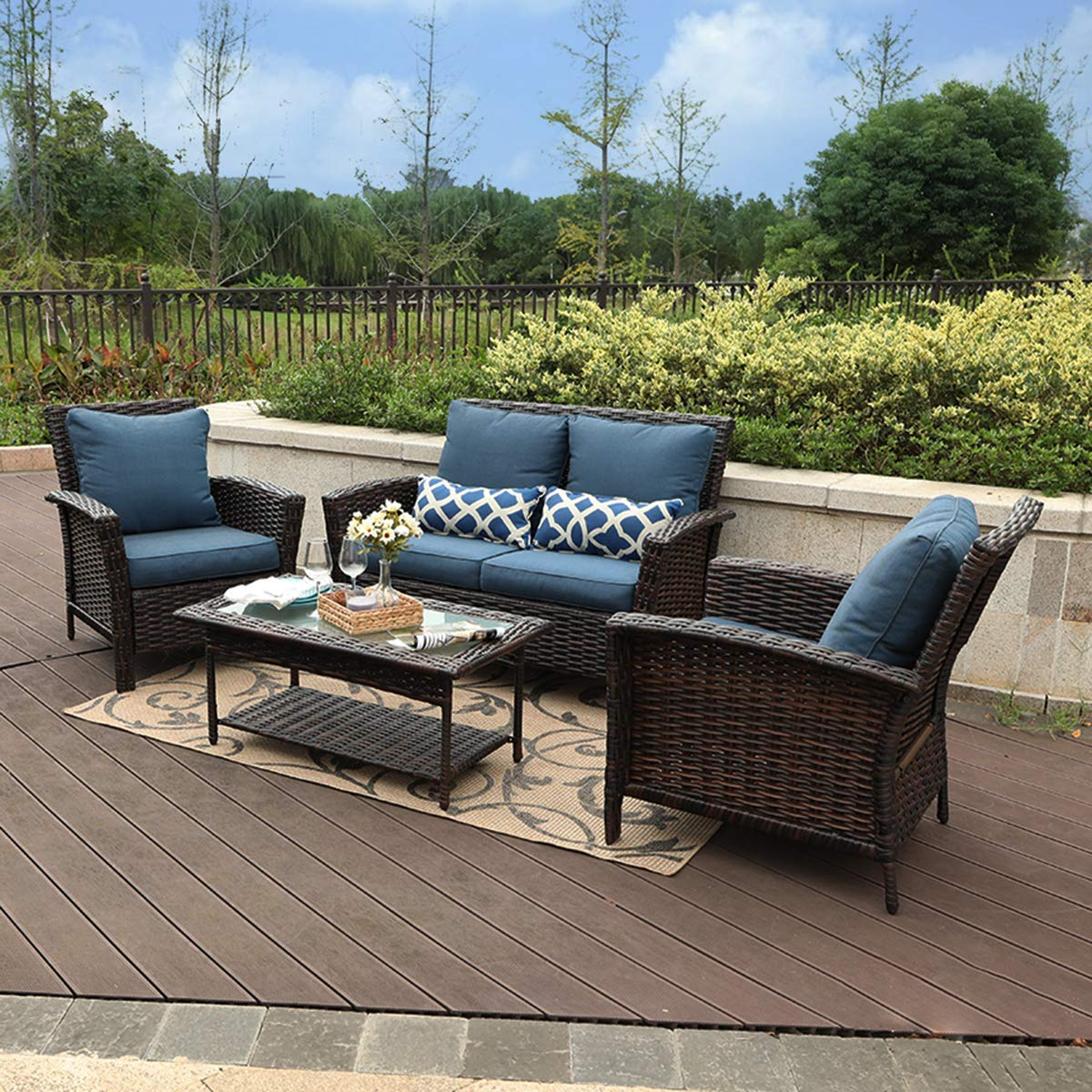 PHI VILLA 4 PC Patio Wicker Sofa Set Outdoor Rattan Furniture Conversation Set with Coffee Table, Blue Padded Cushion