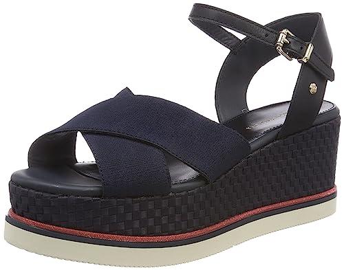 139b2c6adafb40 Tommy Hilfiger Women s Sporty Stretch Corp. Flatform Sandals  Amazon ...