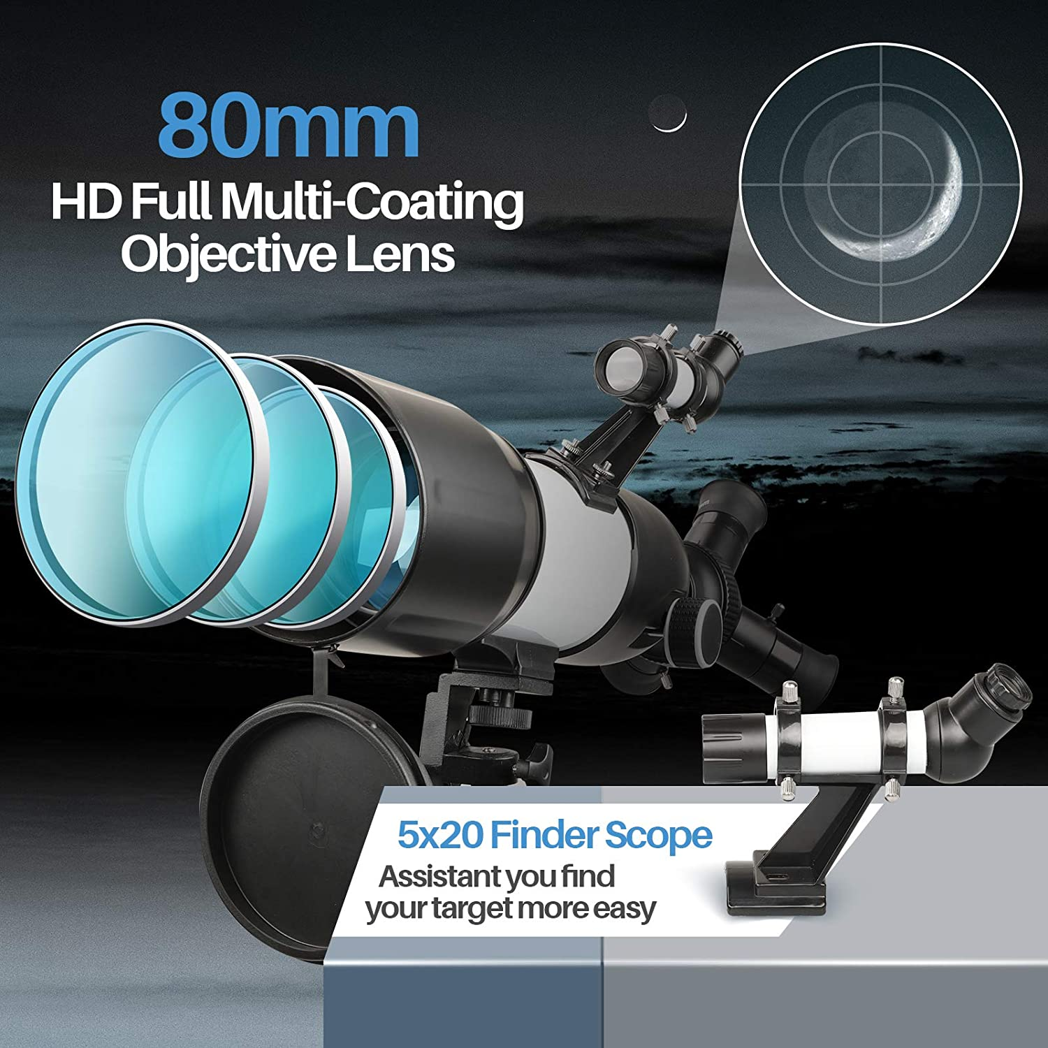 HD high Magnification Portable and Equipped with Phone Photo Adapter Telescope 80mm Aperture for Adults Kids Beginners,3 Rotatable Eyepieces 400mm Mount Astronomical Refracting Telescope