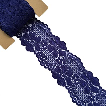 Navy Lace Realm 2/″/×10 Yards Stretch Floral Pattern Lace Ribbon Trim Lace for Headbands Garters Decorating Floral Designing /& Crafts