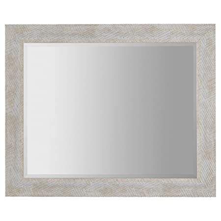Rivet Industrial Framed Bathroom Wall Vanity Mirror – 33.2 x 27.2 x 0.88 Inch, Whitewash