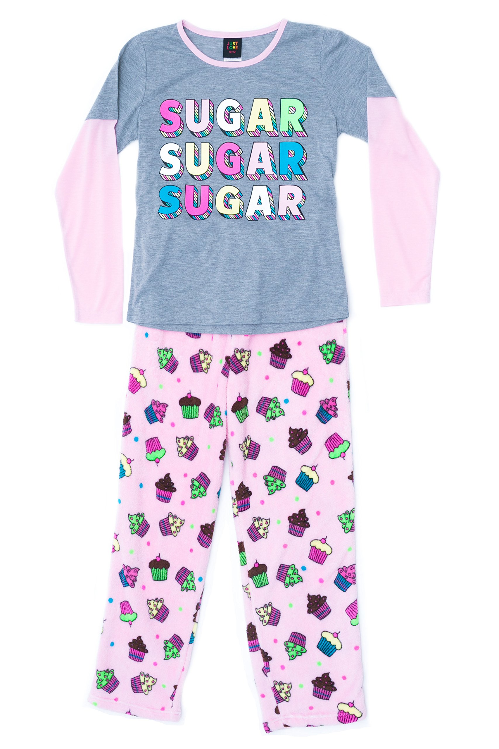 Just Love Two Piece Girls Pajamas Set,Cupcake Dot,7-8