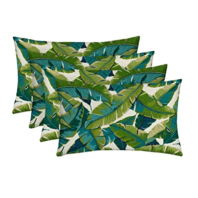 """RSH Décor Indoor Outdoor Multi Color Set of 4-20""""x 12"""" Lumbar Pillow Set Weather Resistant - Choose Color (Balmoral Opal Kiwi Green Cancun Blue Bright Tropical Palm Leaf): Home & Kitchen"""