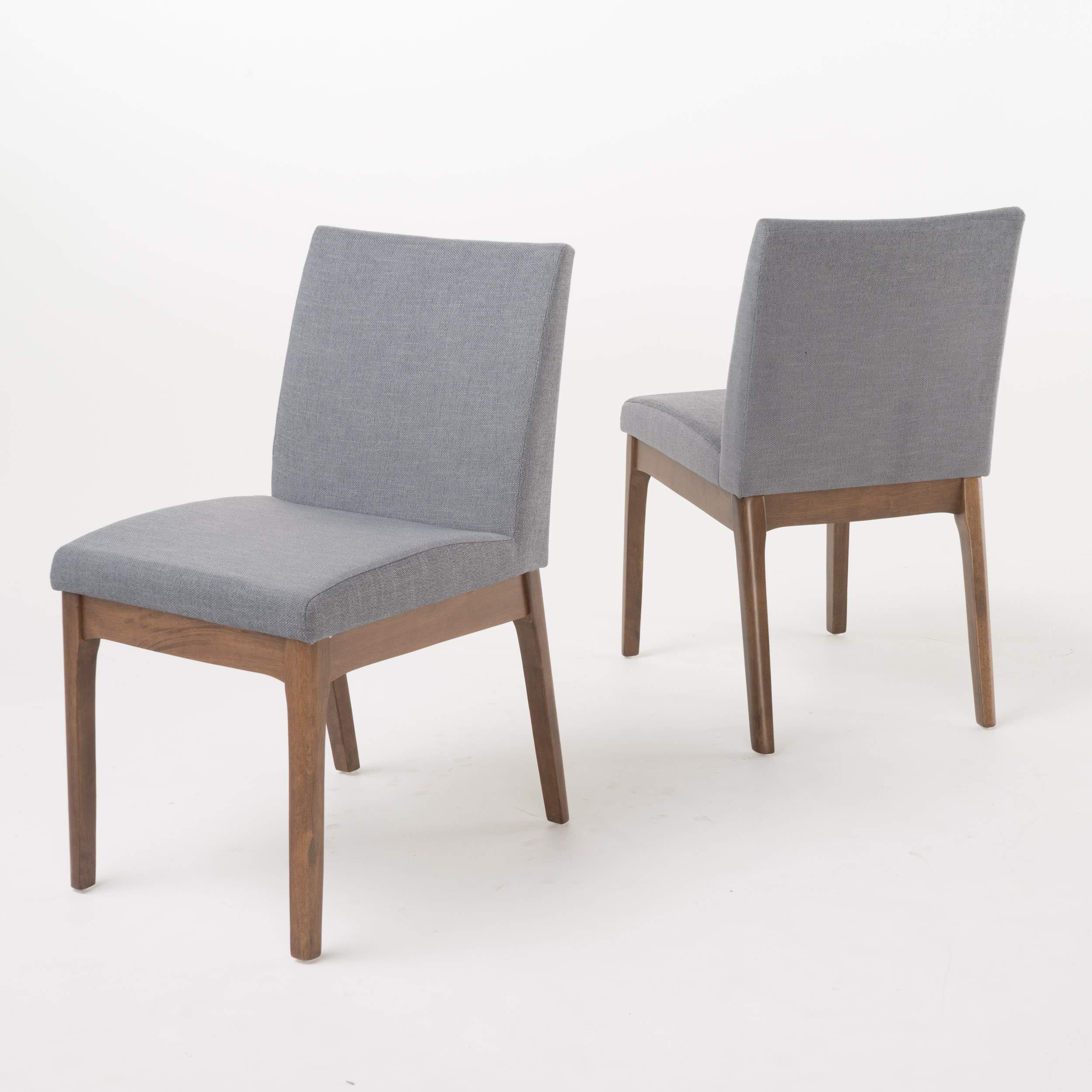 Katherine Dark Grey Fabric/Natural Walnut Finish Curved Leg Rectangular 5 Piece Mid Century Modern Dining Set by GDF Studio (Image #4)