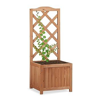 Relaxdays Rankkasten Holz, Garten Pflanzkübel m. Rankgitter, 20 L ...